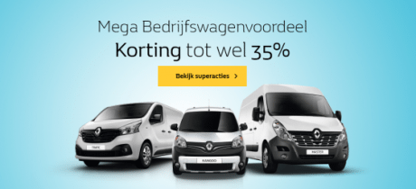 Tijdelijk mega kortingen tot wel 35% op een Renault bedrijfswagen